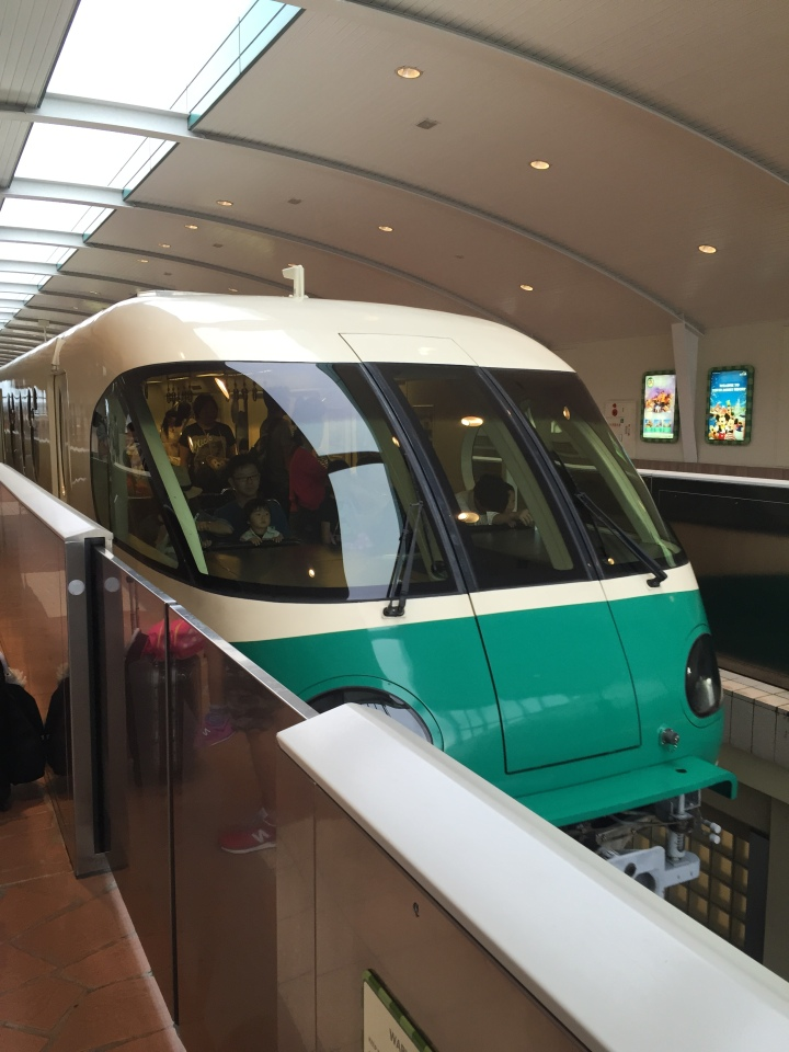 The Tokyo Disneyland monorail pulling into the station