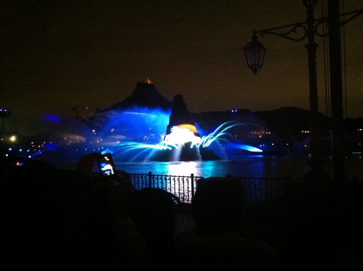 The opening image of Fantasmic. Notice the Sorcerers Hat in the middle that would become a focal point for the show.