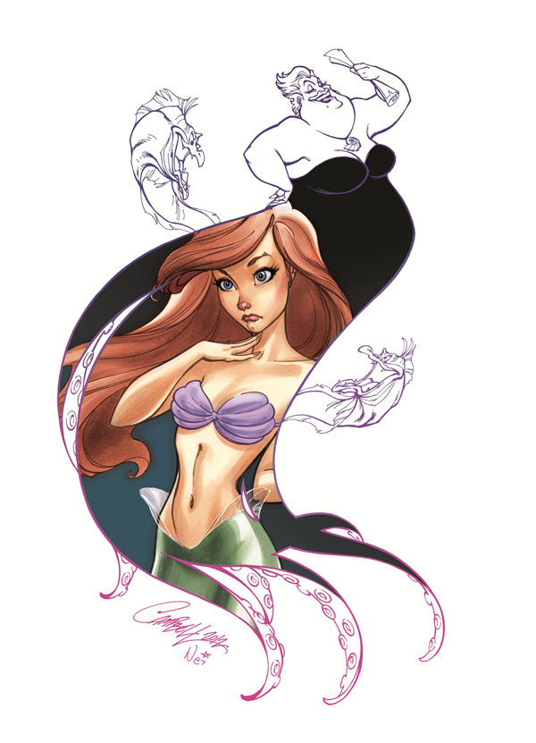 Ariel and Ursula by J Scott Campbell - one of the artists on display for the Good vs. Evil exhibition