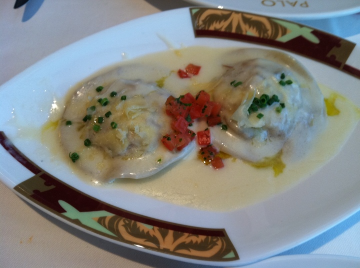 As an appetizer, the luscious and scrumptious lobster ravioli