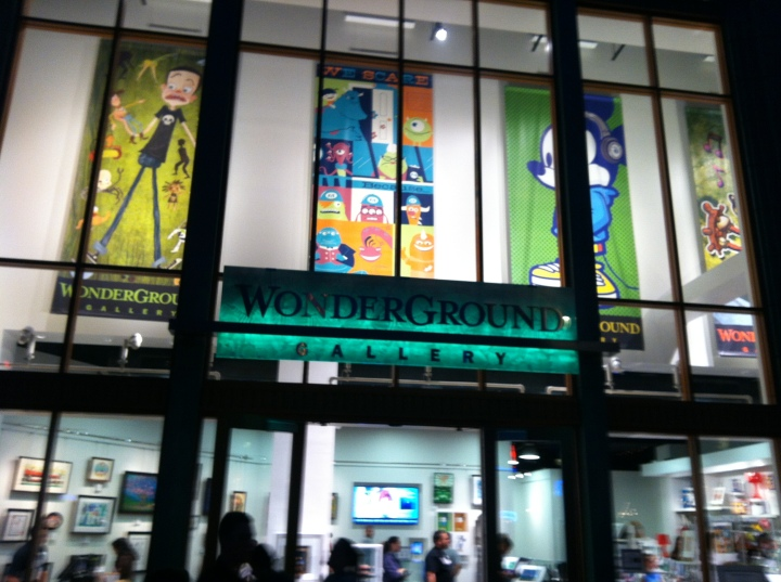 Wonderground Gallery at Downtown Disney Anaheim at night