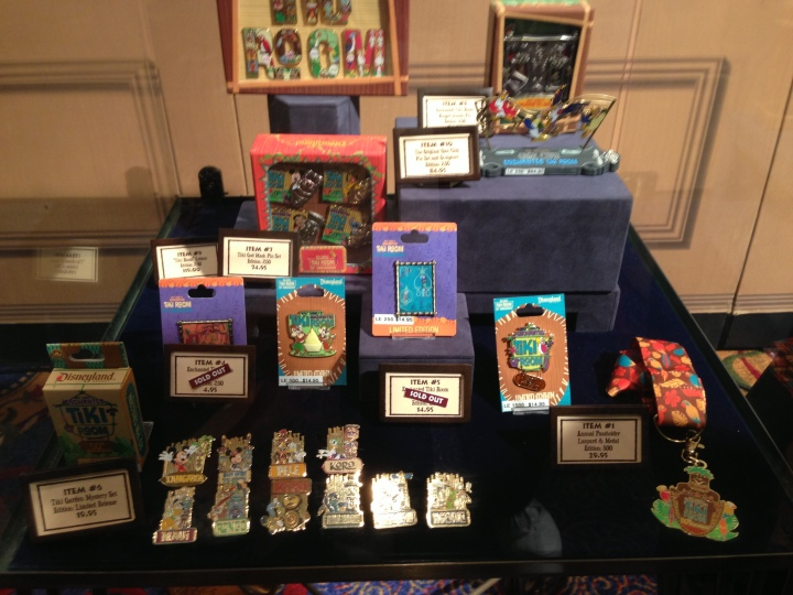The pins available at the Enchanted Tiki Room 50th Anniversary Event
