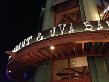 At the entrance to Catal Restaurant and Uva Bar in Downtown Disney