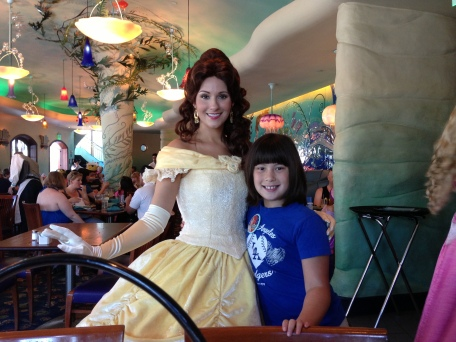 Belle popped by to visit, still one of Emma's favorite princesses - they both love reading