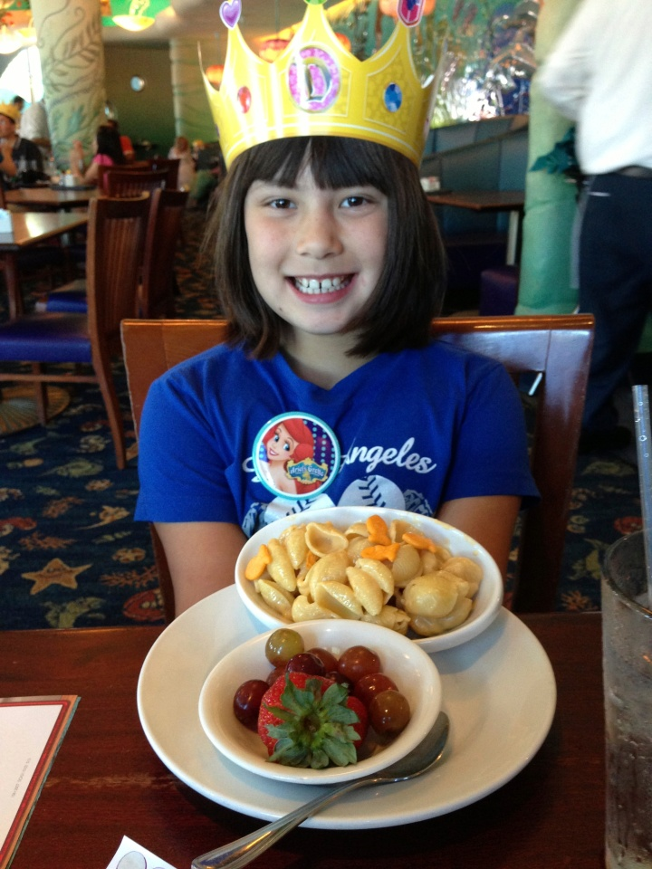 The kids meal of seashell pasta for a happy Princess