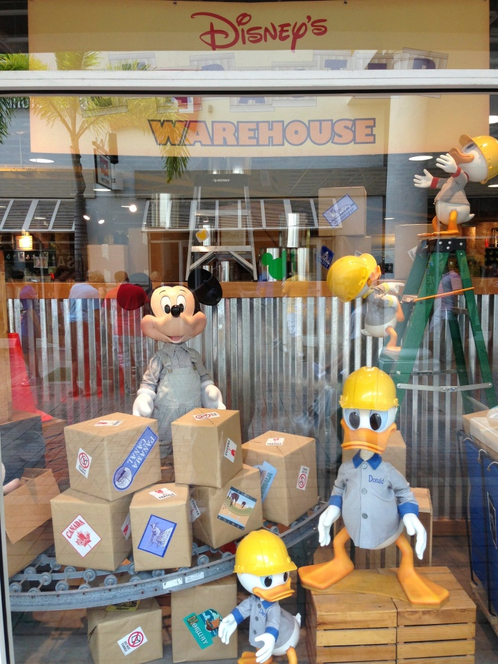 Walking by the window for Disney Character Warehouse