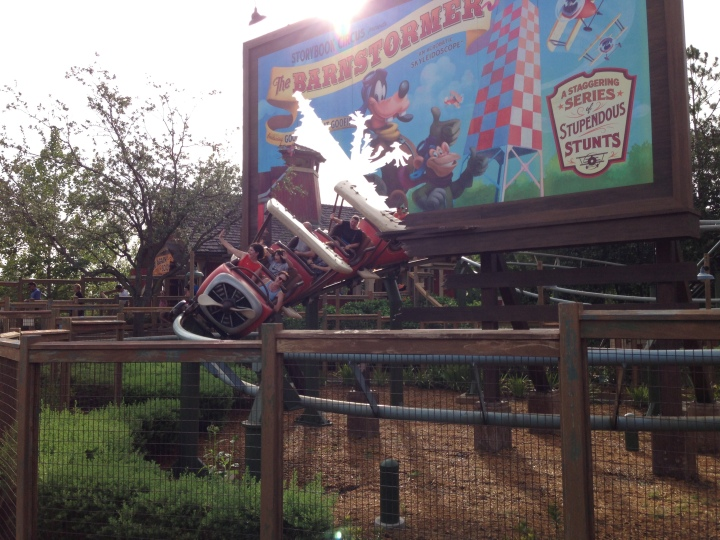 Riding on Goofy's Barnstormer is fun and exciting for all ages