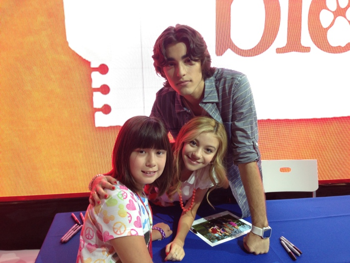 Emma posing with G. Hannelius and Blake Michael from Dog With A Blog