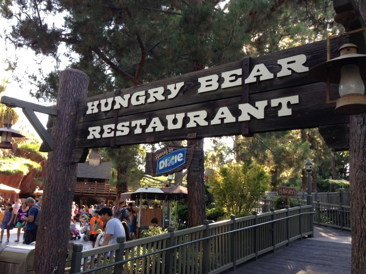 Entering the Hungry Bear Restaurant you'll see this sign