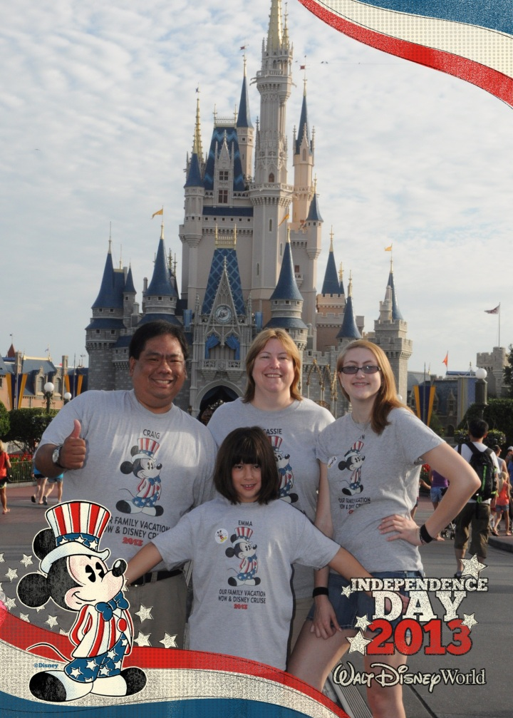 Our family sporting our Disney Design-A-Tee shirts in the Magic Kingdom