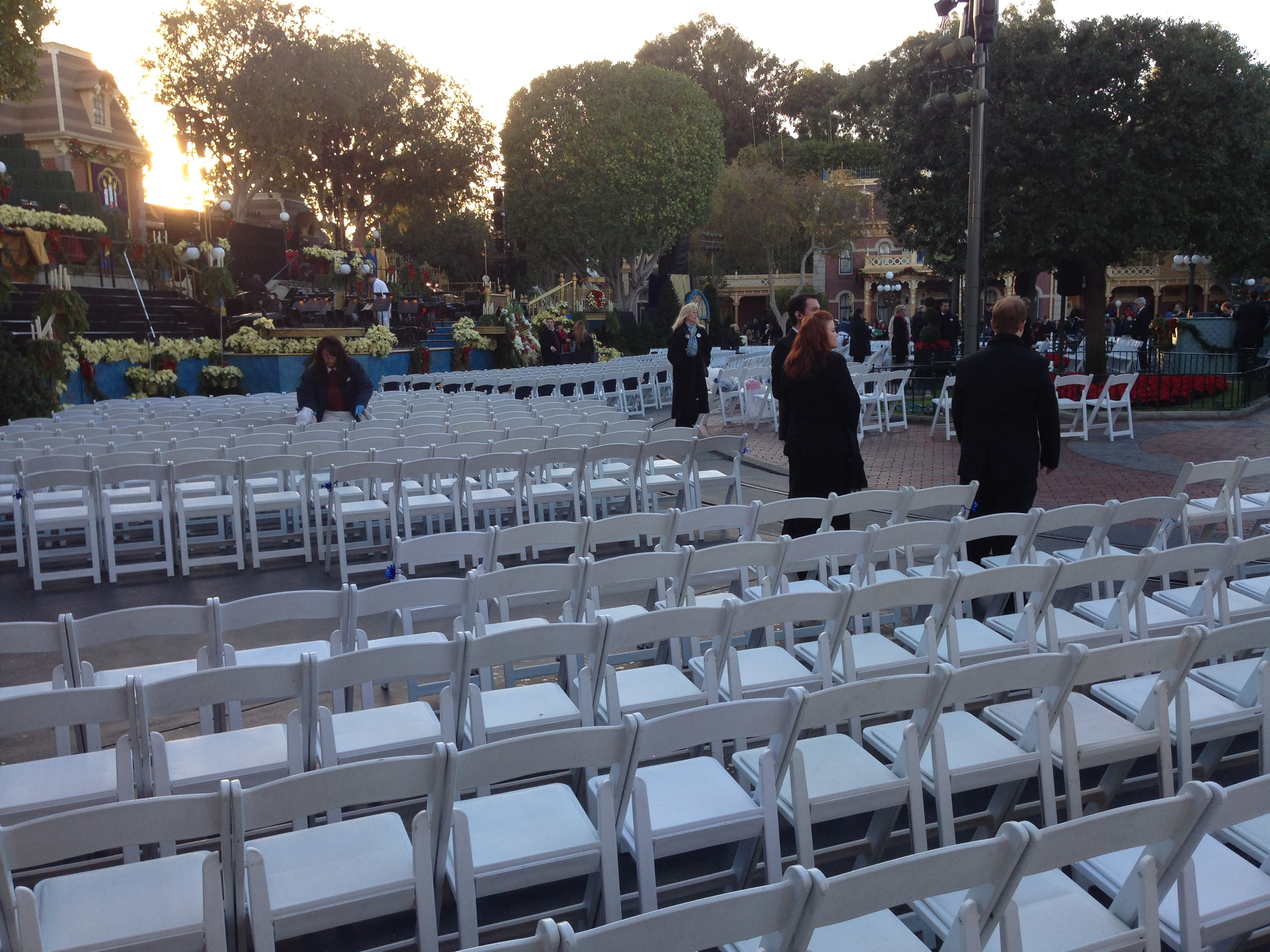 About two hours before it begins, chairs being set up