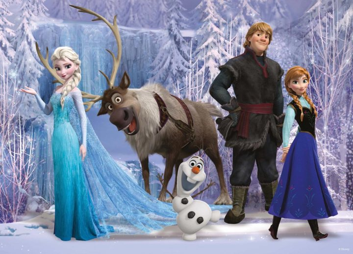 Elsa, Anna, and the Frozen gang