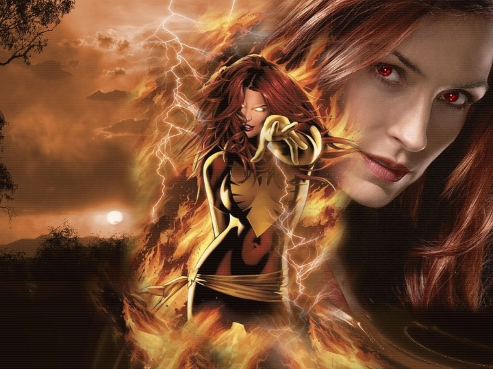 Greg Land's rendition of Dark Phoenix paired with a picture of Famke Janssen