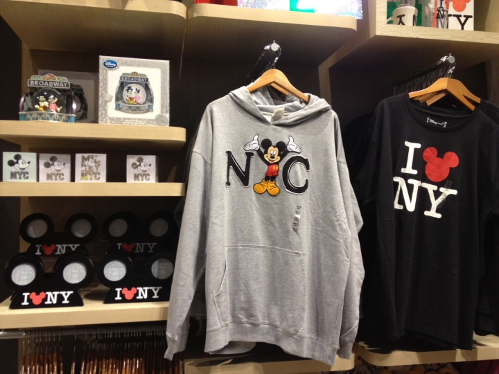 Large selection of NY only merchandise at the Times Square store in NYC.