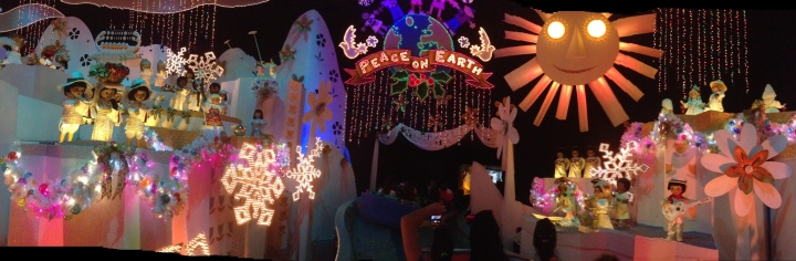 Panorama photo of the finale for It's A Small World Holiday at Disneyland