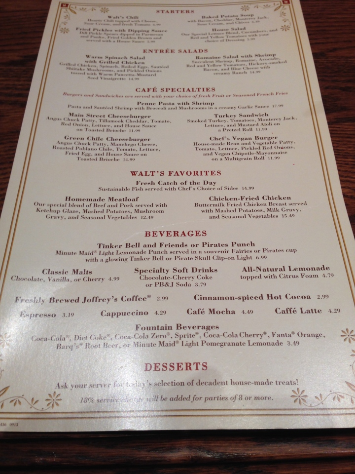 The menu as of April 2014