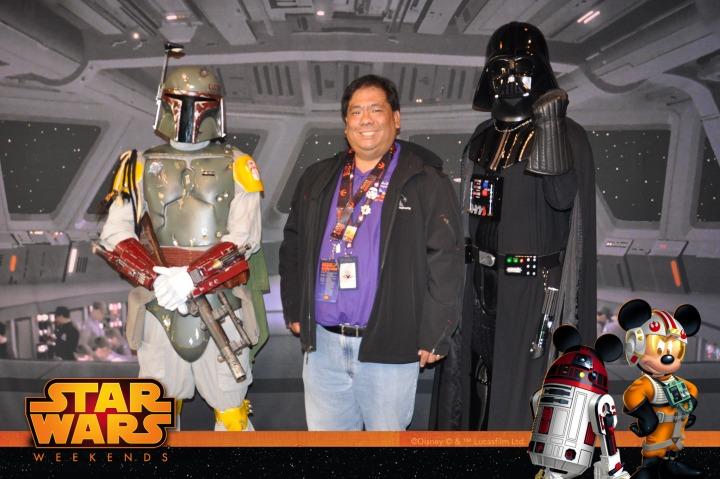 Posing with Boba Fett and Darth Vader
