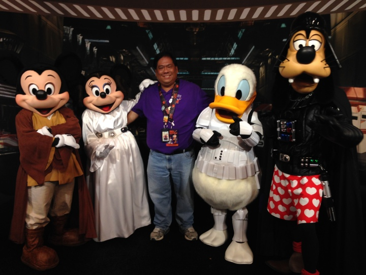 Posing for pics with the entire Star Wars Disney line-up