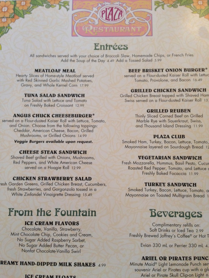 The choice selection of entrees from The Plaza Restaurant in 2014