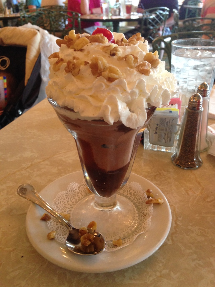 Topping off the meal with a classic hot fudge sundae - just the best!