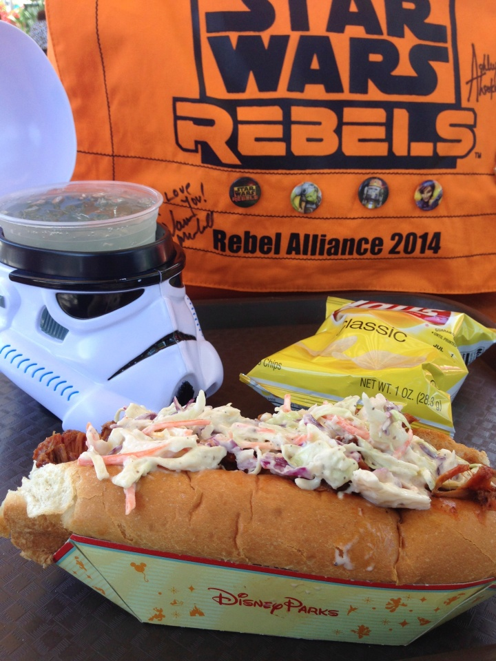 My selection of slaw dog and lemonade in a Stormtrooper mug