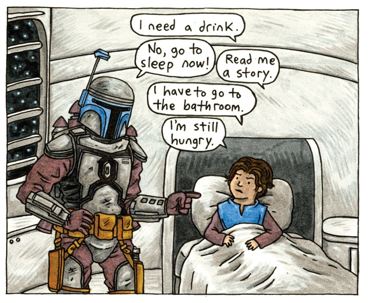 Jango having a little difficulty getting young Boba to go to bed