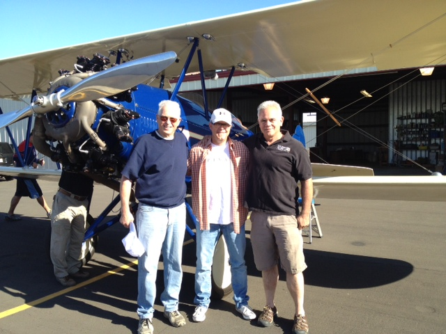 Sean Bautista with Klay Hall, Planes director and Bruce McElhoe at the Reedley airport