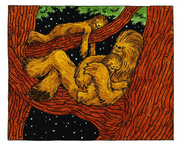 Wookies sleeping in the trees of Kashyyyk