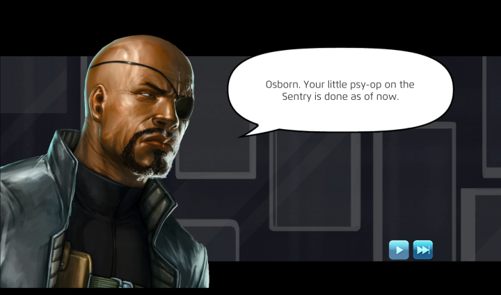 Nick Fury in Story mode on the PC for Marvel Puzzle Quest