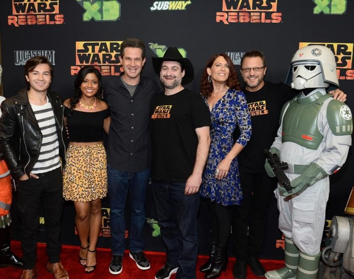 The crew of The Ghost at the world premiere showing of Star Wars Rebels