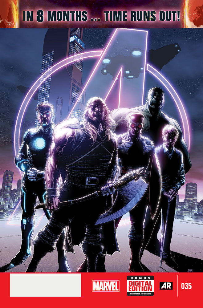 Cover for Avengers #35, the launch of Time Runs Out