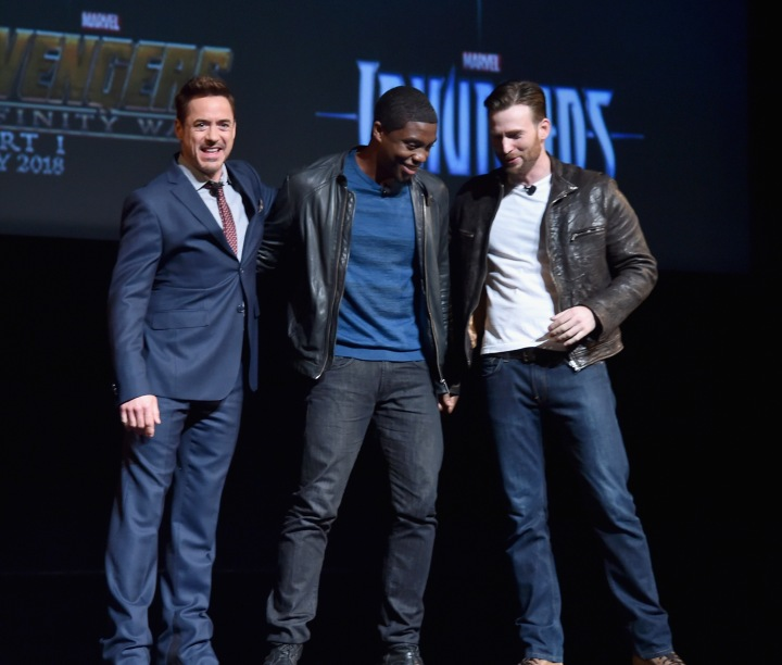 At the reveal for Captain America: Civil War, Robert Downey Jr., Chadwick Boseman, and Chris Evans make an appearance