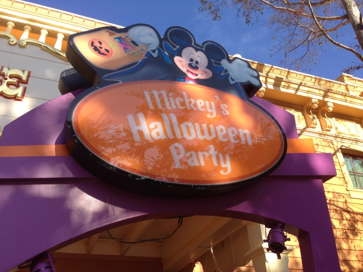 Treat station signs can be found all over the park