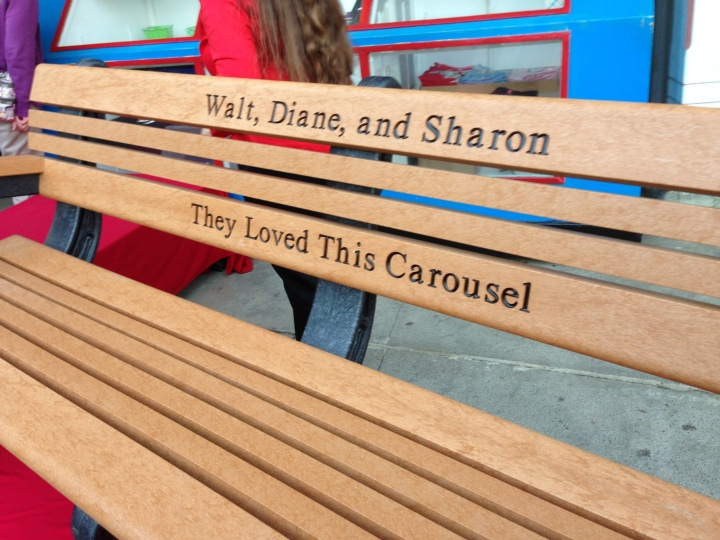 The new bench dedicated to Walt, Diane, and Sharon