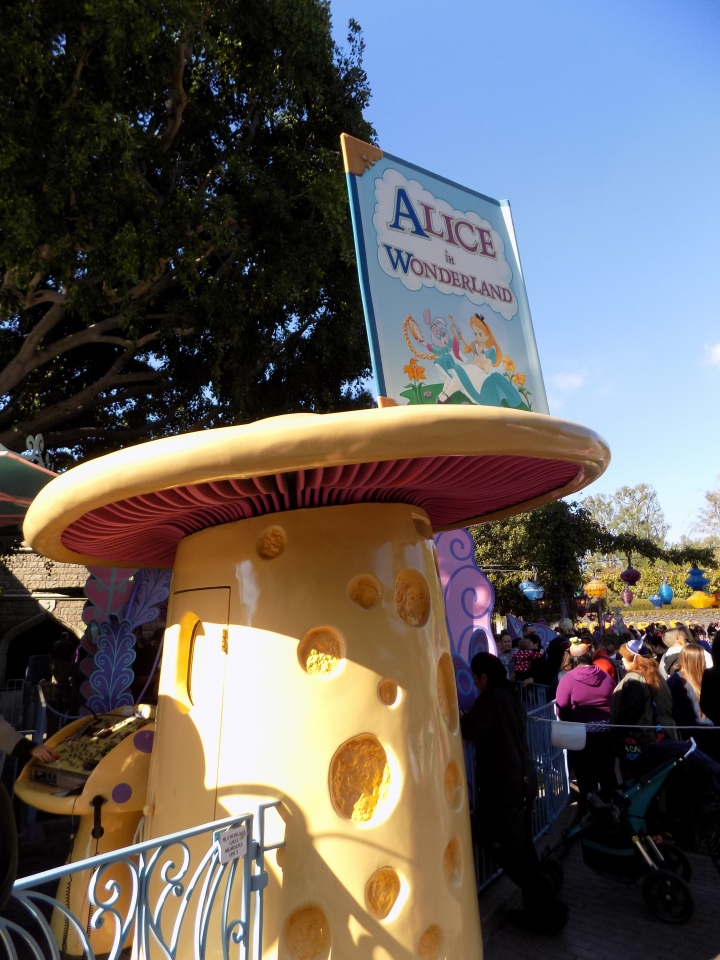 The Alice mushroom marks the entrance to the attraction - and at one time was a ticket booth!