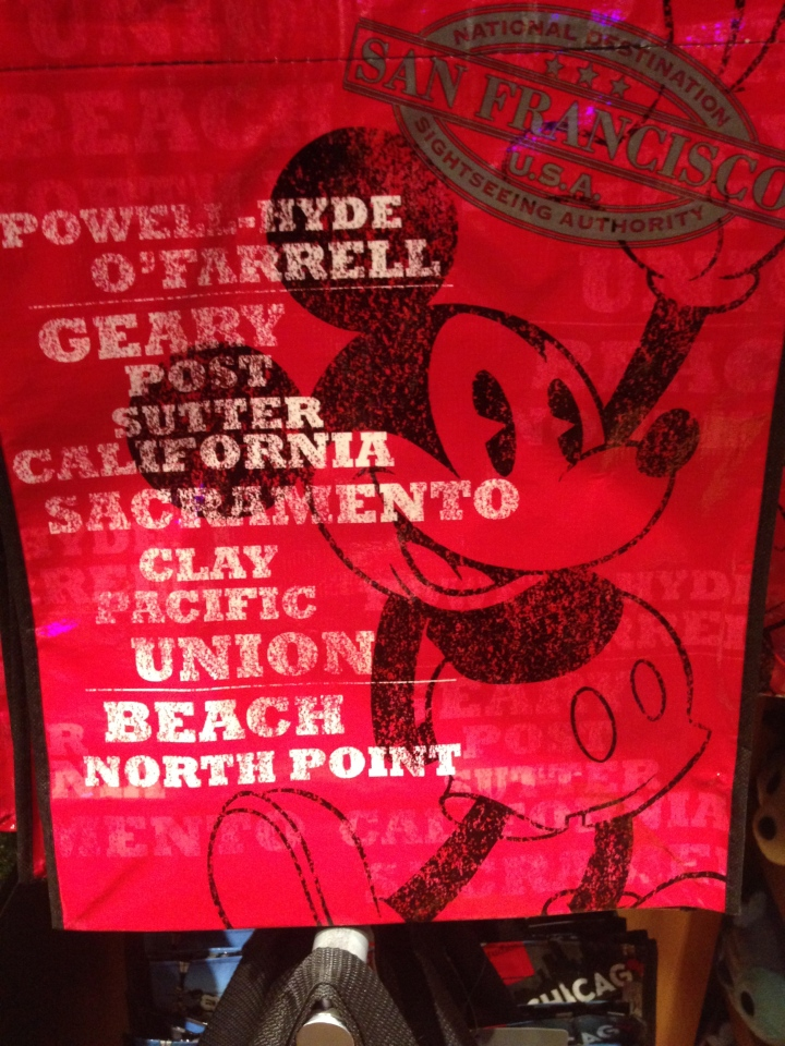 Disney Store San Francisco exclusive reusable bag listing some of the Bay Area's renowned neighborhoods