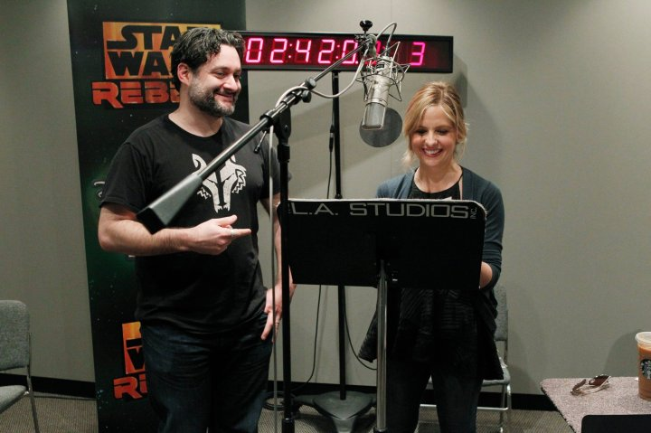 Sarah Michelle Gellar in the recording studios for Star Wars Rebels