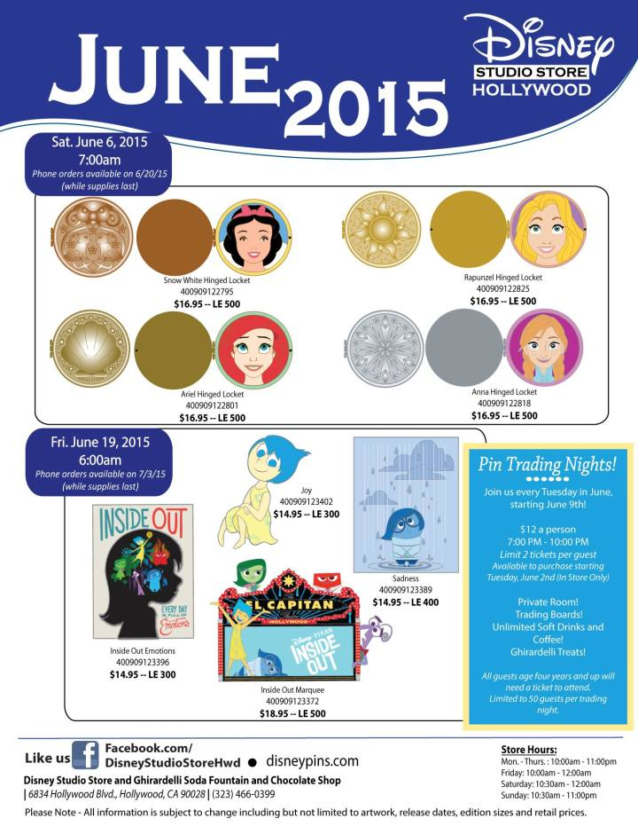 June 2015 release of pins at DSSH - pins I'll never see unless I pay a fortune on eBay