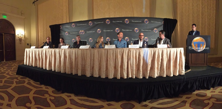 Panoramic picture of the panel at the Tomorrowland press conference