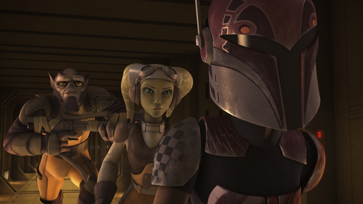 (L to R) Zeb, Hera, and Sabine heading out to rescue their comrades