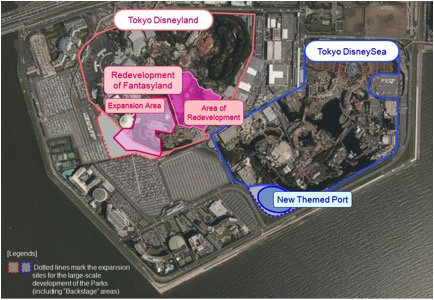 Overhead photo of the Tokyo Disney Resort area with highlights of the two expansions