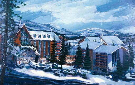 Proposed Mineral King resort concept art - thanks to Walt Disney Family Museum blog