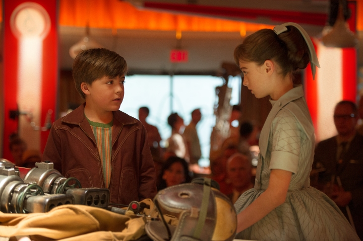 Disney's TOMORROWLAND..L to R: Young Frank (Thomas Robinson) & Athena (Raffey Cassidy)..Ph: Kimberley French..©Disney 2015