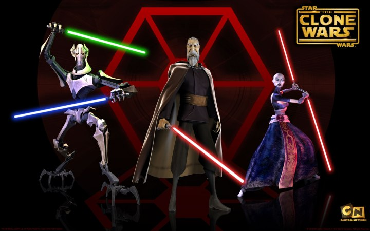 (L to R) General Grievous, Count Dooku, and Asajj Ventress from the Clone Wars series on Cartoon Network - all appear in Dark Disciple