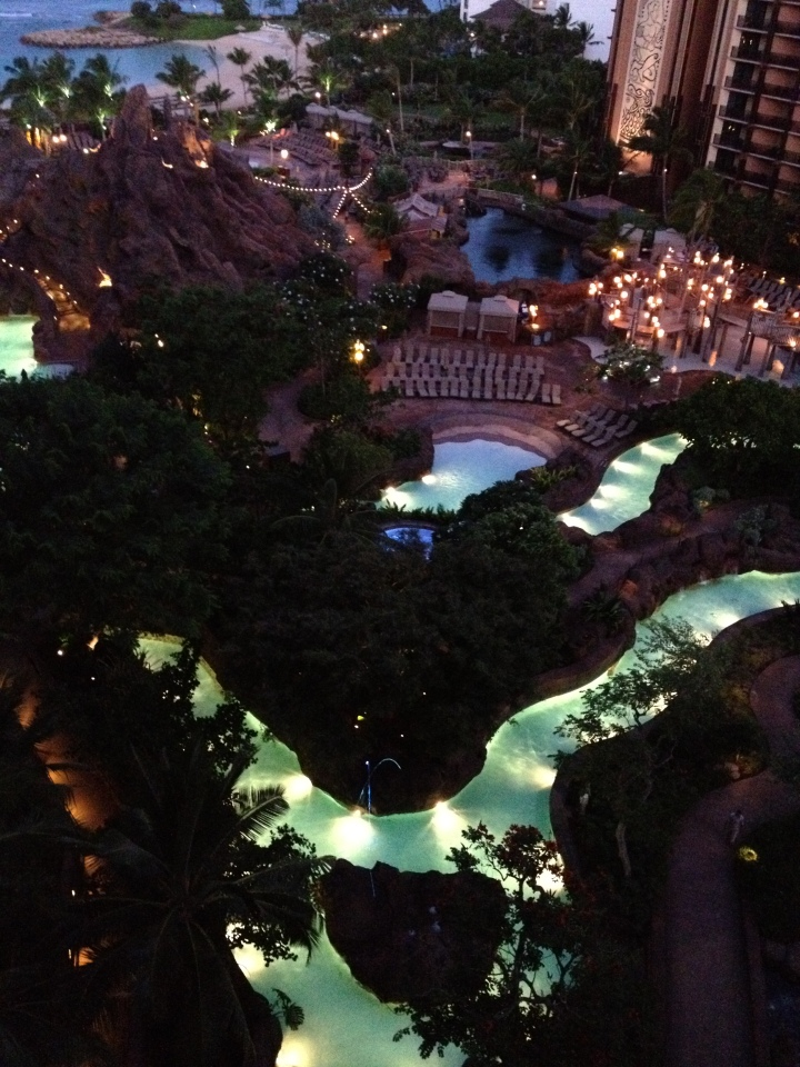 Overlooking the Aulani pools at dawn - just beautiful