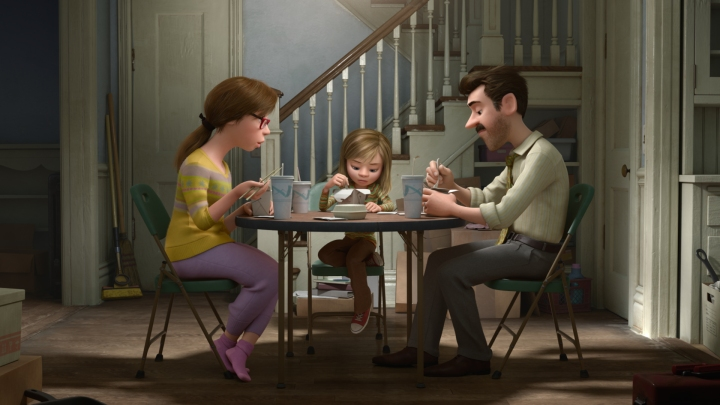 WHAT ARE THEY THINKING? -- Pixar Animation Studios takes audiences inside the mind of 11-year-old Riley, who is uprooted from her Midwest life when her father starts a new job in San Francisco. Guided by her five Emotions - Joy (voice of Amy Poehler), Sadness (voice of Phyllis Smith), Fear (voice of Bill Hader), Disgust (voice of Mindy Kaling) and Anger (voice of Lewis Black) - Riley struggles to adjust, and when Fear, Disgust and Anger are left in control, even a simple family dinner takes an unexpected turn. Also featuring the voices of Diane Lane as Mom, Kaitlyn Dias as Riley and Kyle MacLachlan as Dad, Disney•Pixar's