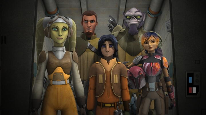 The crew of the Ghost: (L to R) Hera, Kanan, Ezra, Zeb, and Sabine