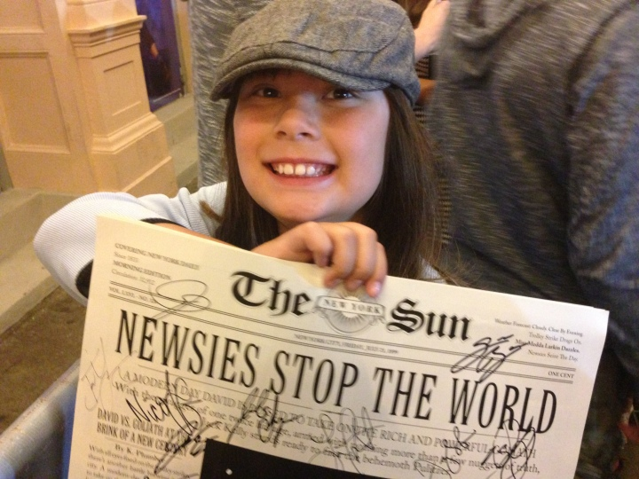 Triumphant! Getting autographs from the cast of Newsies