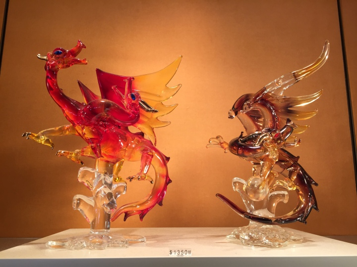 These amazing glass figurines of dragons could be found in Crystal Arts