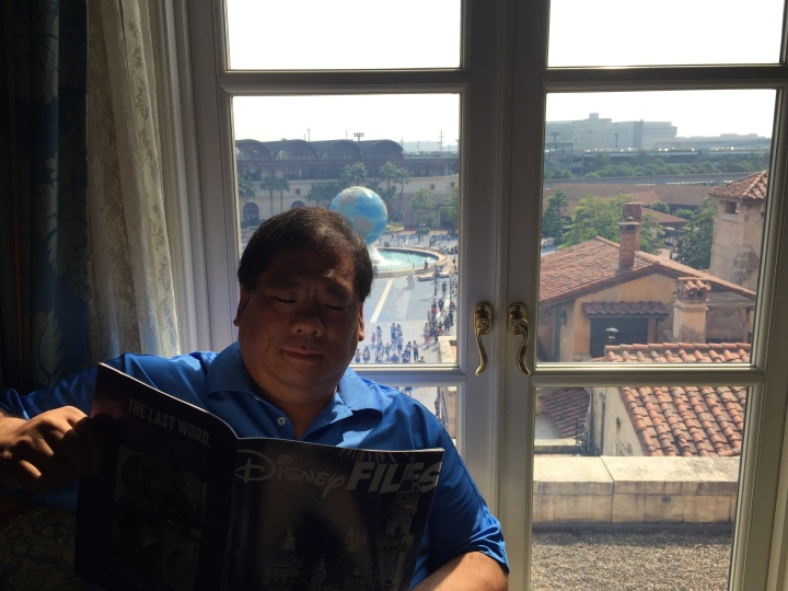 At the Hotel Miracosta IN DisneySea at the Tokyo Disneyland Resort reading my latest issue of Disney Files